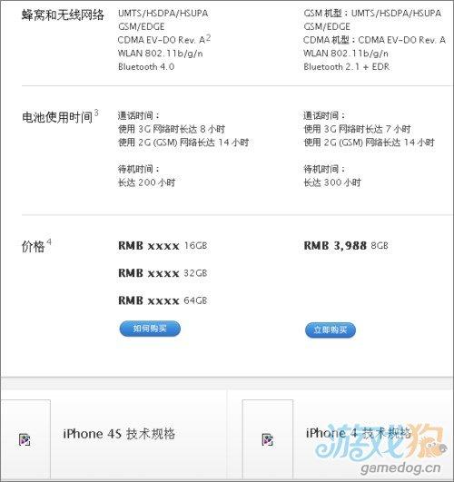 苹果中国官网iPhone 4S页面偷跑 公布配置信息
