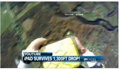 iPad从1300英尺高空落下未坏 保护套立功