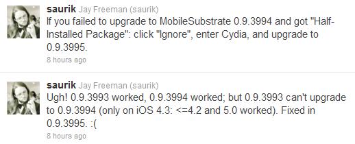 Cydia更新MobileSubstrate底层库修复稳定性