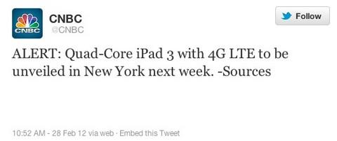 CNBC发布重磅消息 四核iPad3于下周纽约发布