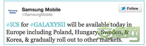 韩国及欧洲三星Galaxy S II Android 4.0升级开始