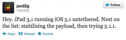 pod2g宣布成功完美越狱运行iOS 5.1的New iPad