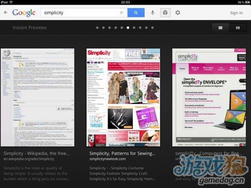 iPad上Google Search应用升级 搜索更视觉化