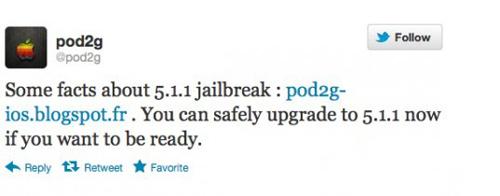 Pod2g:用户现已可以更新至iOS 5.1.1