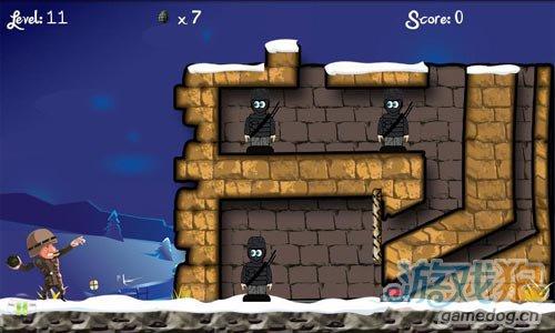 简单有趣的射击游戏:炮弹大兵 消灭躲起来的敌人5