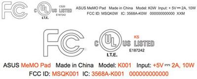 华硕两款MeMo平板电脑通过FCC权威认证