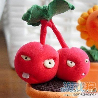 橡皮泥版植物大战僵尸樱桃炸弹模型