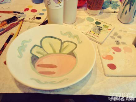 保卫萝卜版水彩画欣赏 盘子上的艺术