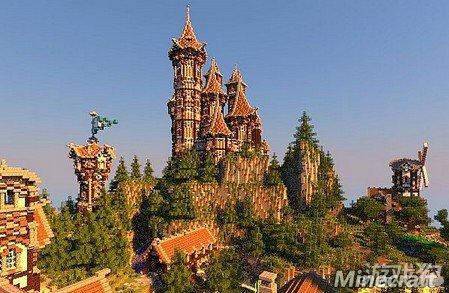 我的世界欧风城堡村落错落有致