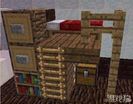 您将需要:石英块 石英半砖 木栅栏 木爬梯 床 书架 萤石.