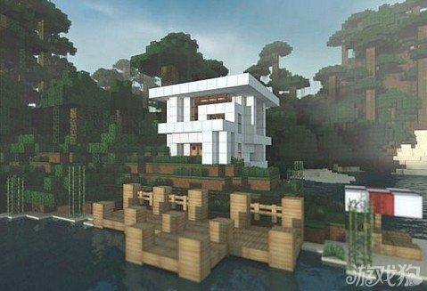我的世界湖边白色房子