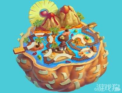 游戏中的泡芙天堂岛外形看起来就是一个很大的面包,上面有各种各样的