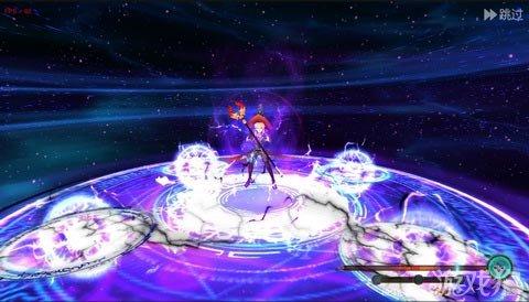 """上图是游戏特色玩法""""羁绊系统""""的合体技展示,暗色系的背景衬出"""